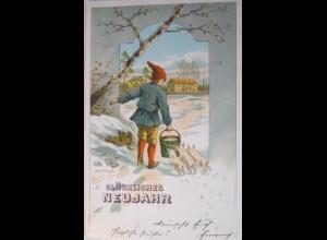 Neujahr, Zwerg, Schwein, 1906, Max. Hänel ♥ (26003)