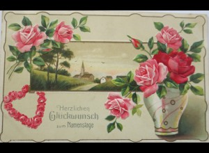 """Rosen, Vase, Landschaft, Herz"" 1911, Serie Erika, Prägekarte ♥ (3563)"