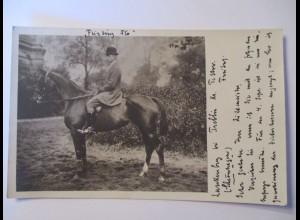 Trebbin, Teltow, Mann zu Pferd, Fotokarte 1912