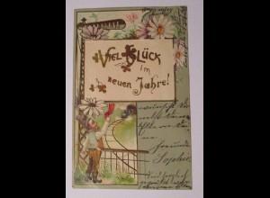 Neujahr, Zwerge, Eisenbahn, 1902, Prägekarte ♥ (37291)