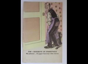 Klappkarte, Männer, Tür, Frauen, Erotik, Badezimmer, 1910 ♥ (10446)