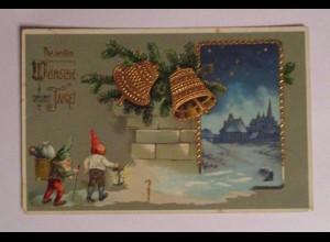 Neujahr, Zwerge, Glocken, Spielzeug, 1910, Golddruck ♥ (40114)