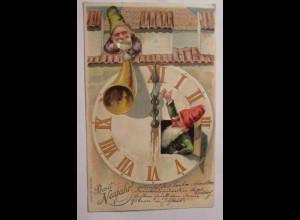 Neujahr, Zwerge, Horn, Uhr, 1904, Prägekarte ♥ (38051)
