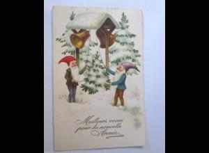 Neujahr, Zwerge, Glocken, 1920 ♥ (26753)