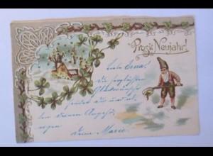 Neujahr, Zwerge, Kleeblatt, Jugendstil, 1902, Prägekarte ♥ (40913)