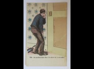 Klappkarte, Männer, Tür, Frauen, Erotik, Badezimmer, 1910 ♥ (63322)