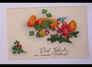Neujahr, Zwerge, Knallbonbon, Kleeblatt, Pilz, Sekt, 1930 ♥ (39768)