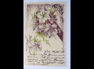 """""""Blumen, Jugendstil""""1901, Glitzerkarte ♥"""