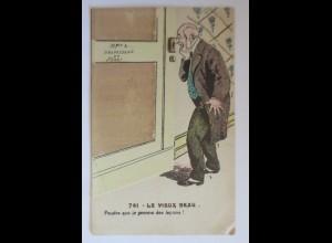 Klappkarte, Männer, Tür, Frauen, Erotik, Fitness, 1910 ♥ (35938)