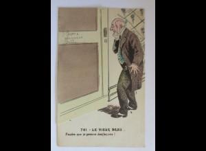 Klappkarte, Männer, Tür, Frauen, Erotik, Fitness, 1910 ♥ (22484)
