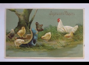 Ostern, Küken, Huhn, Vase, 1909, Prägekarte ♥ (51142)