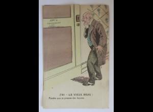 Klappkarte, Männer, Tür, Frauen, Erotik, Fitness, 1910 ♥ (59109)