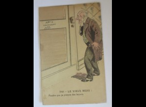 Klappkarte, Männer, Tür, Frauen, Erotik, Fitness, 1910 ♥ (21544)