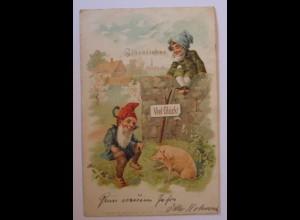 """""""Neujahr, Zwerge, Schwein"""" 1902 ♥ (38615)"""
