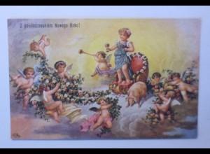"""""""Neujahr, Engel, Blumen, Schwein, Wagen, Sekt"""" 1910, sig. F.R. ♥ (48935)"""