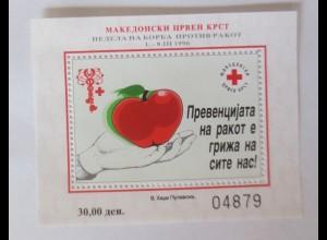 Makedonien Z Block18A Zwangszuschlagsmarken Rotes Kreuz ♥ (6310)