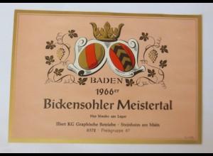 Weinetiketten Baden,1966 Bickensohler Meistertal, Steinheim am Main ♥ (67799)
