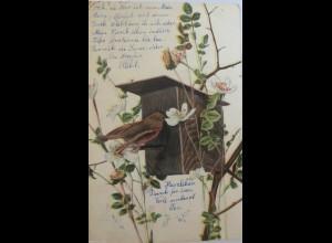 """Vogel, Vogelhaus, Blumen"" 1904, Serie T.E.L. 867 ♥ (2801)"