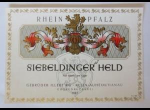 Weinetiketten, Rhein Pfalz,Siebeldinger Held, Gebr. Klein-Auheim-Hanau ♥
