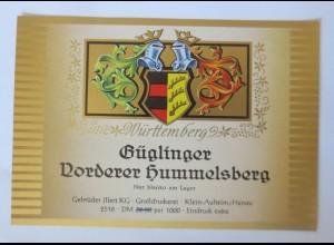 Weinetiketten, Güglinger Voderer Hummelsberg, Gebr. Klein-Auheim-Hanau ♥