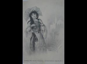 Künstlerkarte, Frauen, Hutmode, Mode, Trachten, 1901, Bottaro ♥ (16821)