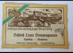 Weinetiketten, Schloßgut Diel, Burg Leyen Bingen, Spätlese Meßwein ♥