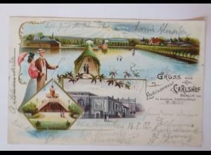 Berlin,Gruß aus Carlshof, Etablissement,Spandauer Schifffahrstkanal 1903♥