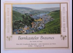 Weinetiketten,Mosel-Saar-Ruwer, Bernkasteler Braunes, Steinheim am Main ♥