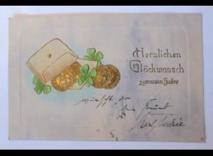 Neujahr, Geldbeutel, Münzen, Kleeblatt, 1904, Prägekarte ♥ (31687)