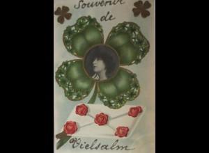 Geburtstag, Frauen, Kleeblatt, Brief, 1900, Prägekarte ♥ (24273)