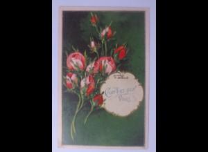 Geburtstag, Blumen, Rosen, 1908, Prägekarte ♥ (56409)
