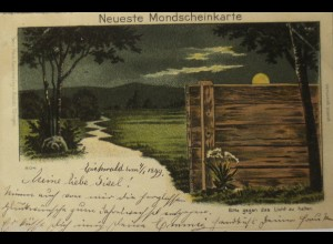 """""""Neujahr, Dorf"""" 1899, Mondscheinkarte, Mann Leuchtet hinter der Wand ♥(15140)"""