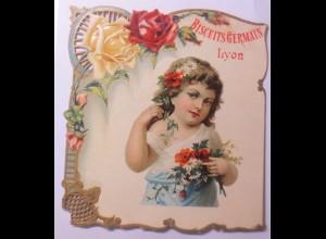 Kaufmannsbilder, Werbeschild, Biscuits Germain Lyon, 20 x18,5cm 1900 ♥ (A1)