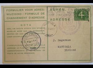 Niederlande, Ganzsache Adressänderungskarte 1948