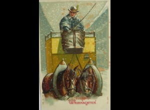 Weihnachten, Postkutsche, Pferde, Kutscher, Schnee, 1907, Prägekarte ♥ (10416)