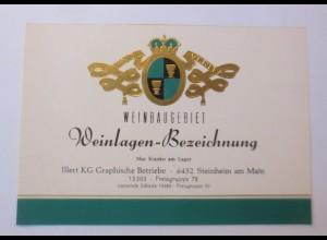 Weinetikett, Weinbaugebiet, Weinlagen Bezeichnung. Steinheim am Main ♥