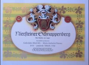 Weinetikett, Niersteiner Schnappenberg, Rheinhessen,Steinheim am Main ♥