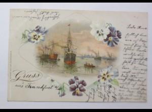 Gruß aus Frankfurt, Hafen, Schiffe, Stiefmütterchen, 1900 ♥ (33604)