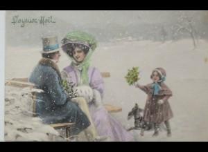"""""""Weihnachten, Frauen, Kinder, Dackel, Muff""""1909, V.K. Vienne ♥ (20450)"""