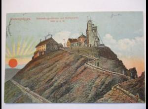 Tschechien, Riesengebirge, Schneekoppe mit Wetterwarte, 1929