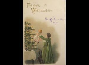 """""""Weihnachten, Kinder, Frauen, Dackel, Weihnachtsbaum"""" 1900 ♥ (4664)"""