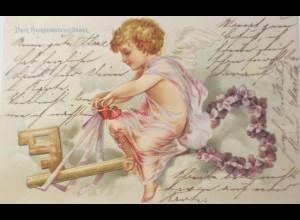Valentinstag, Engel, Schlüssel, Herz, Blumen, 1901, Prägekarte ♥ (22030)