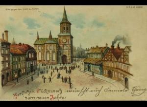 """Neujahr, Dorf, Kirche"""" 1900, Halt gegen das Licht ♥ (13115)"""