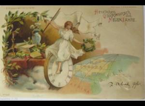 Neujahr, Uhr, Frauen, Fahne, Globus, 1901, Halt gegen das Licht ♥ (9617)