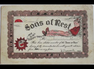 USA, Member of the Sons of Rest, 1903