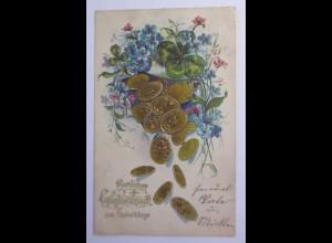 Geburtstag, Münzen, Kleeblatt, Blumen, 1900, Prägekarte ♥ (47126)