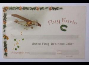 Neujahr, Flugzeug, Hufeisen, Glocken, 1930 ♥ (47093)