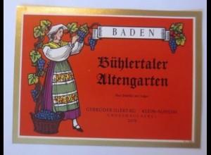 Weinetikett, Baden, Bühlertaler Altengarten 1953 er, ♥