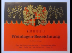 Weinetikett, Weinbaugebiet, Weinlagen-Bezeichnung, Steinheim am Main ♥