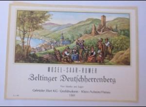 Weinetikett, Mosel-Saar-Ruwer, Zeltinger Deutschherrenberg ♥